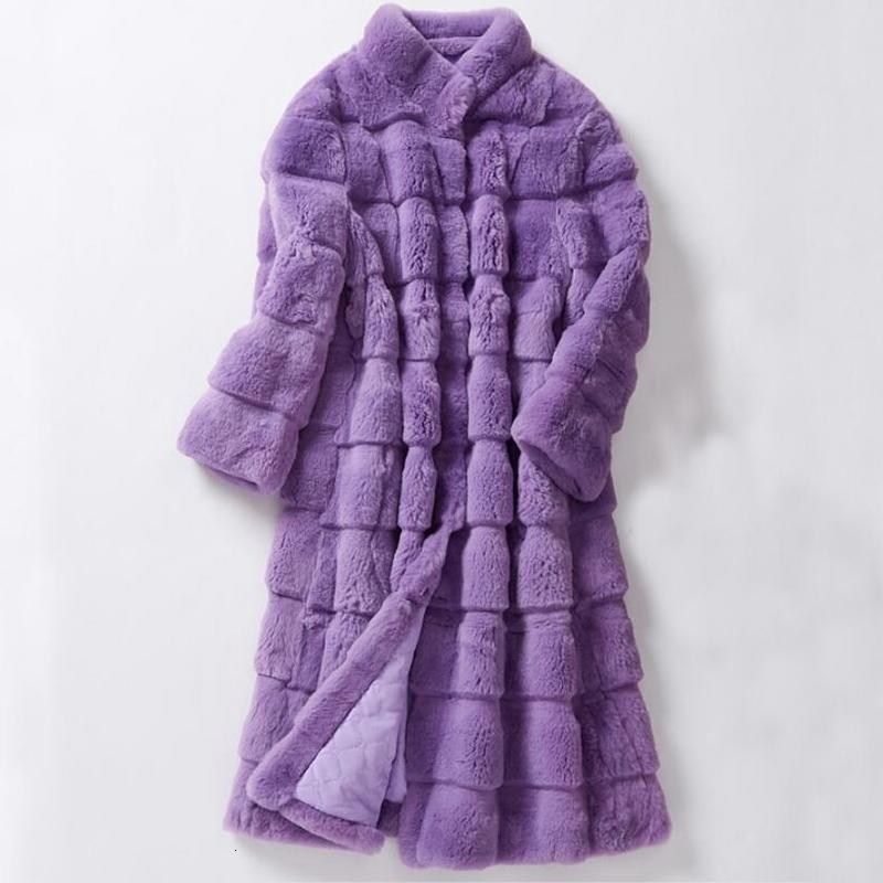 Women Clothing Long Big Size Sheared Rabbit Fur Striped Line Real Fur Coat Genuine Fur Overcoat Winter for Female ksr616 T191111