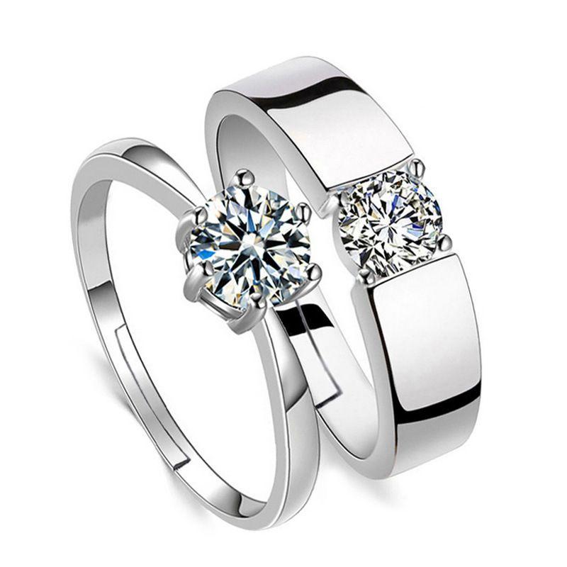 مكعب زركونيا سوليتير الدائري مفتوحة للتعديل الماس الاشتباك الزفاف الفضة زوجين النساء الرجال خواتم الحب الأزياء والمجوهرات الإرادة والرملية