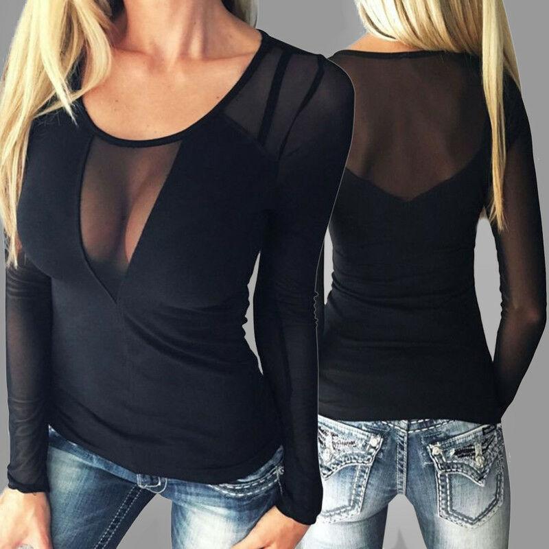 Camiseta manga comprida New Mulheres Sexy Tops transparentes camisa do tamanho t BODYCON mulheres mais t-shirts para as mulheres