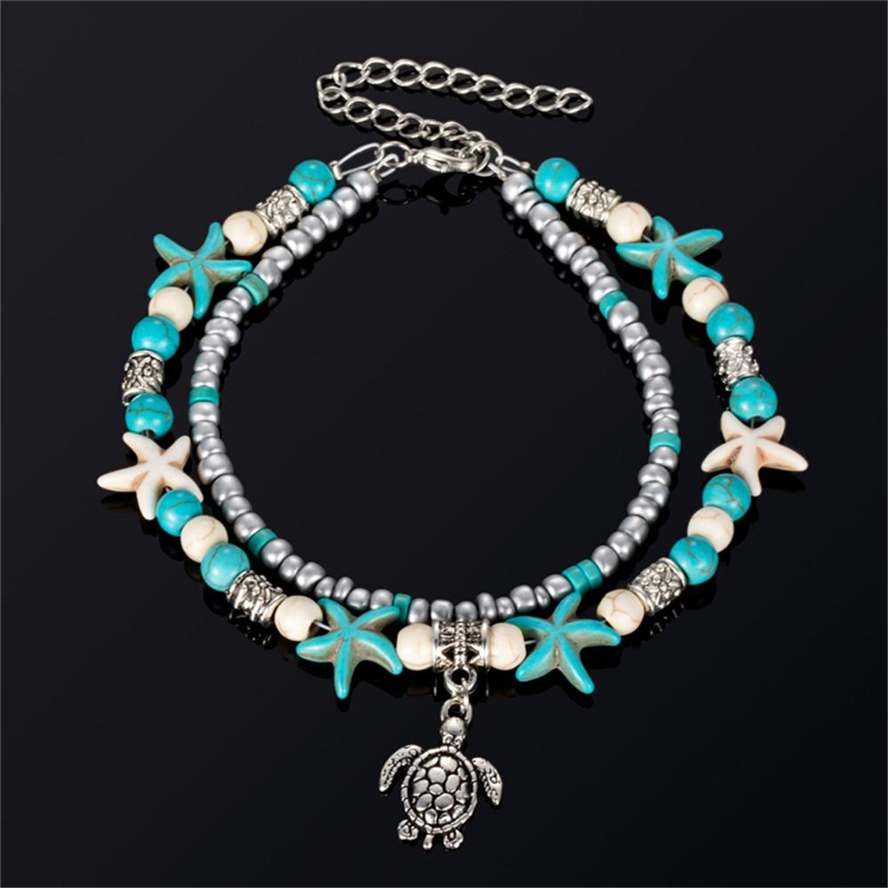 Bohemian Multi Layer Starfish Turtle Beads Anklets For Women Vintage Boho Shell Chain Anklet Bracelet Beach Jewelry Sandals Gift