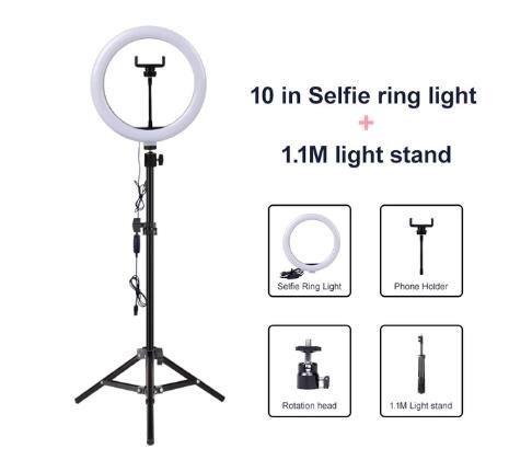 Video Light Dimmable LED selfie Light Ring lampe anneau USB Photographie Lumière avec téléphone Support 2M trépied pour le maquillage Youtube