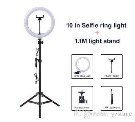 فيديو الضوء عكس الضوء LED الصور الشخصية للحلقة الضوء حلقة USB مصباح ضوء التصوير الفوتوغرافي مع حامل الهاتف 2M ترايبود الترشح للماكياج يوتيوب