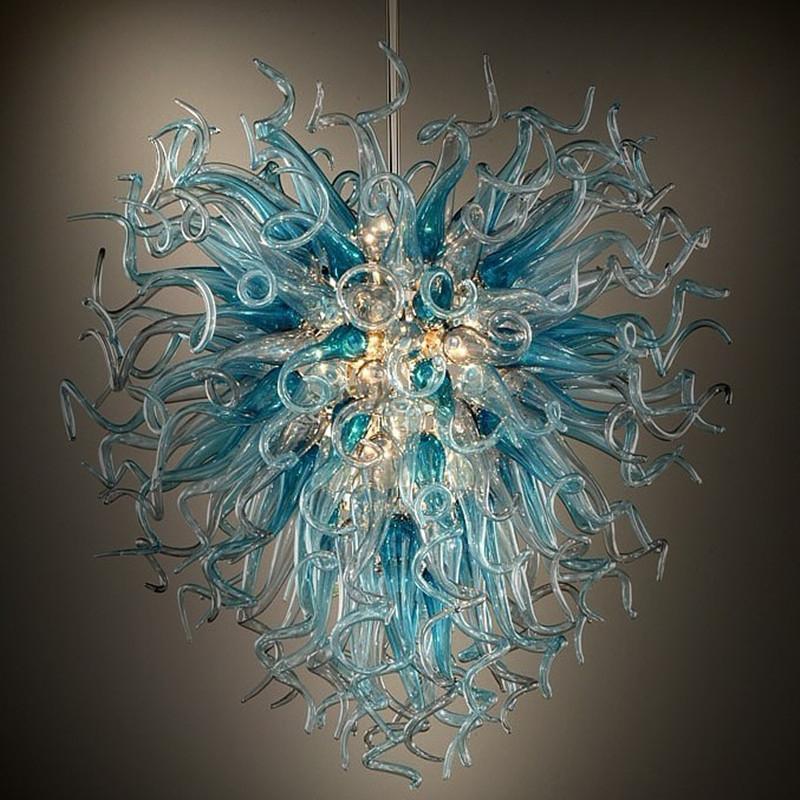 100% soffiato a mano in vetro italiano Lampadari luci Moderno Fiore di cristallo di Murano Pendente di vetro LED E27 Catena leggera lampadario a sospensione lampade