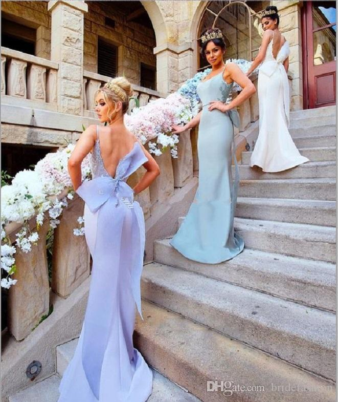 2019 Nouvelle sirène Robes de mariée spaghetti Big Bow ouvert Appliques Retour longue Pucelle d'honneur Robe de mariée Party Guest Robes pas cher sur mesure
