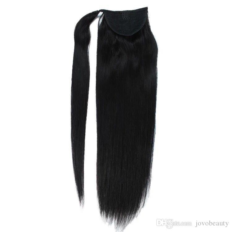 VMAE Brazilian Peruvian Straight 100g 120g Natural Brown Horsetail Clip in Magic Wrap Around Ponytails Virgin Human Hair Extension