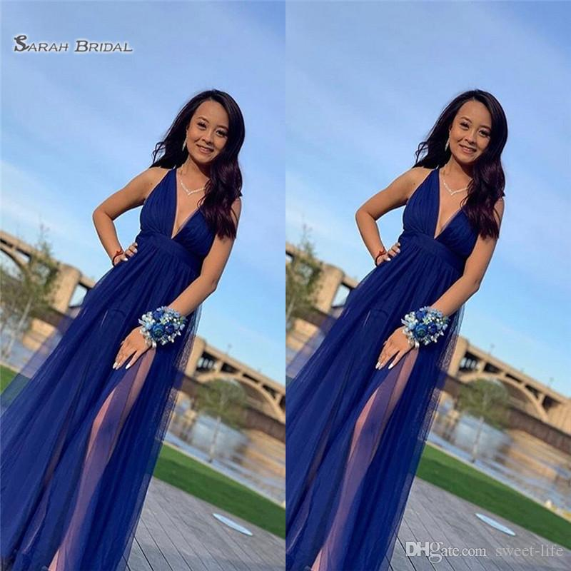 2019 Blue Aline Prom Homecoming Party Dress Sleeves Tulle With V-neck Custom Made Vestidos De Novia Evening Party Gown