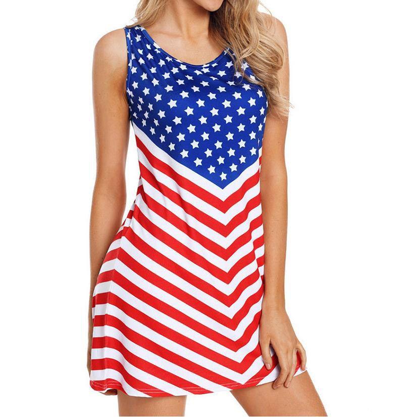 العلم الأميركي طباعة المرأة الصيف اللباس الاستقلال يوم أكمام عارضة مخطط سليم ضيق شاطئ اللباس النساء اللباس