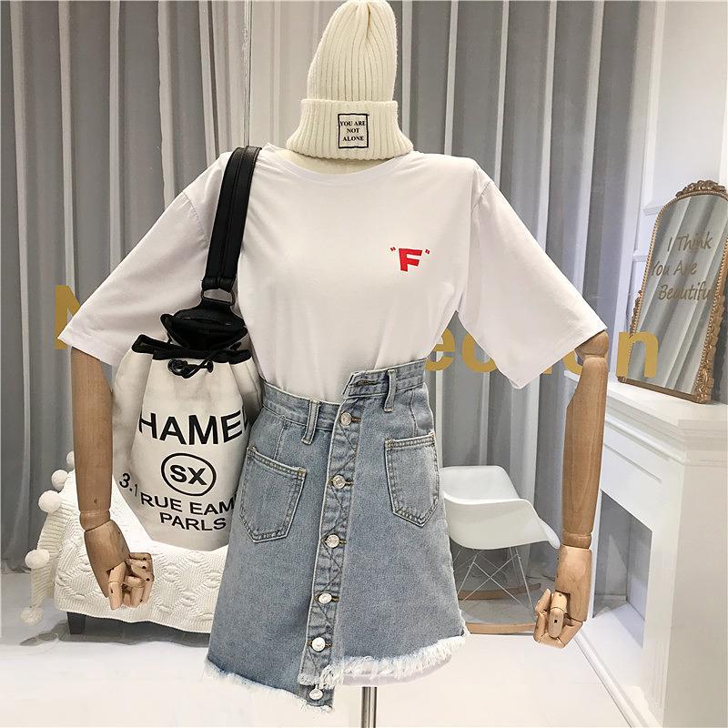 2020 de verano de dos piezas de las faldas de las mujeres ocasionales de la camiseta de las mujeres extendido con manga corta + denim Faldas botones de arriba de la rodilla, Mini