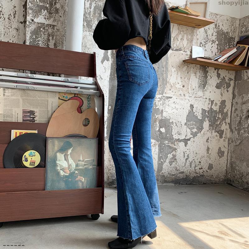 Jeans femininos outono alta cintura fundos moda calças mulheres flare sino perna larga jean calça senhoras esticando