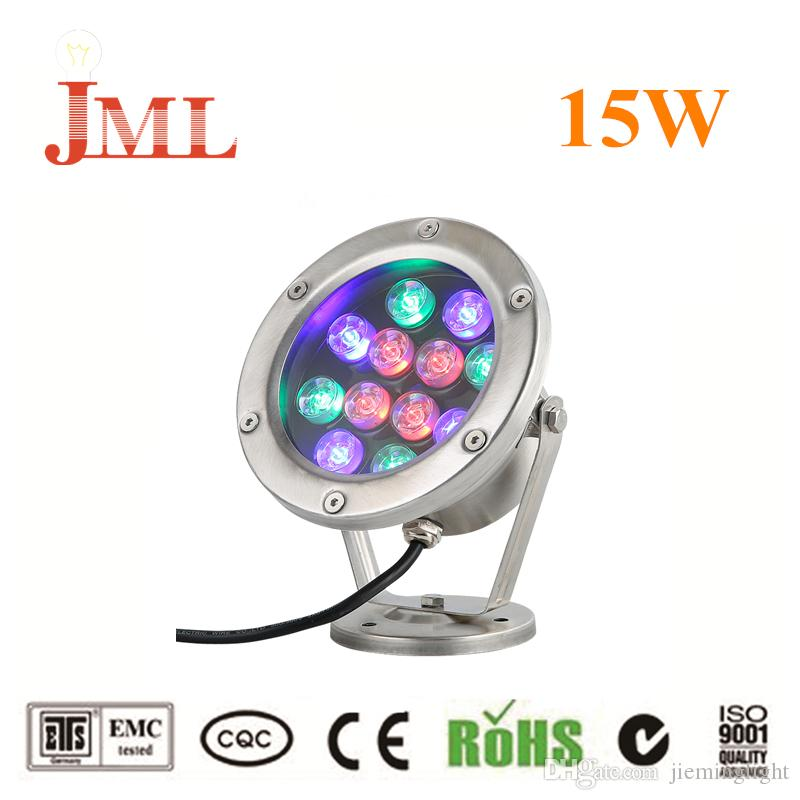 JML Underwater lights 12V 15W RGB LED outdoor floodlights IP68 waterproof 1500lm CE RHoS high quality led lamps