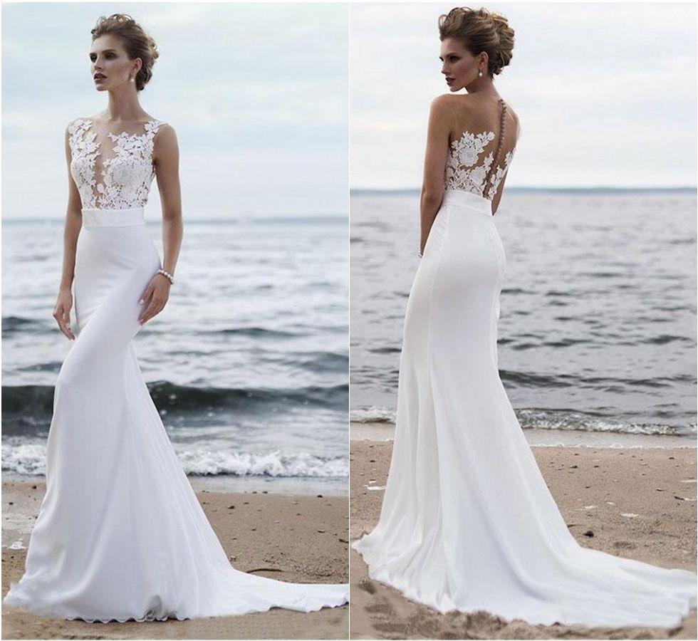 Chiffon Court Train Summer Beach Wedding Bridal Gowns With Buttons Elegant Sheer Mesh Top Lace Mermaid Wedding Dresses