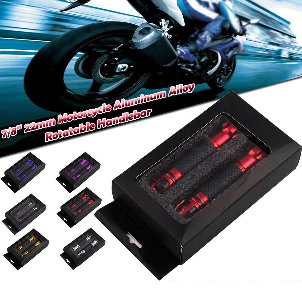 "Black 7//8/"" Motorcycle Hand Throttle Grips CNC Aluminum Rotatable Handlebar Pair"