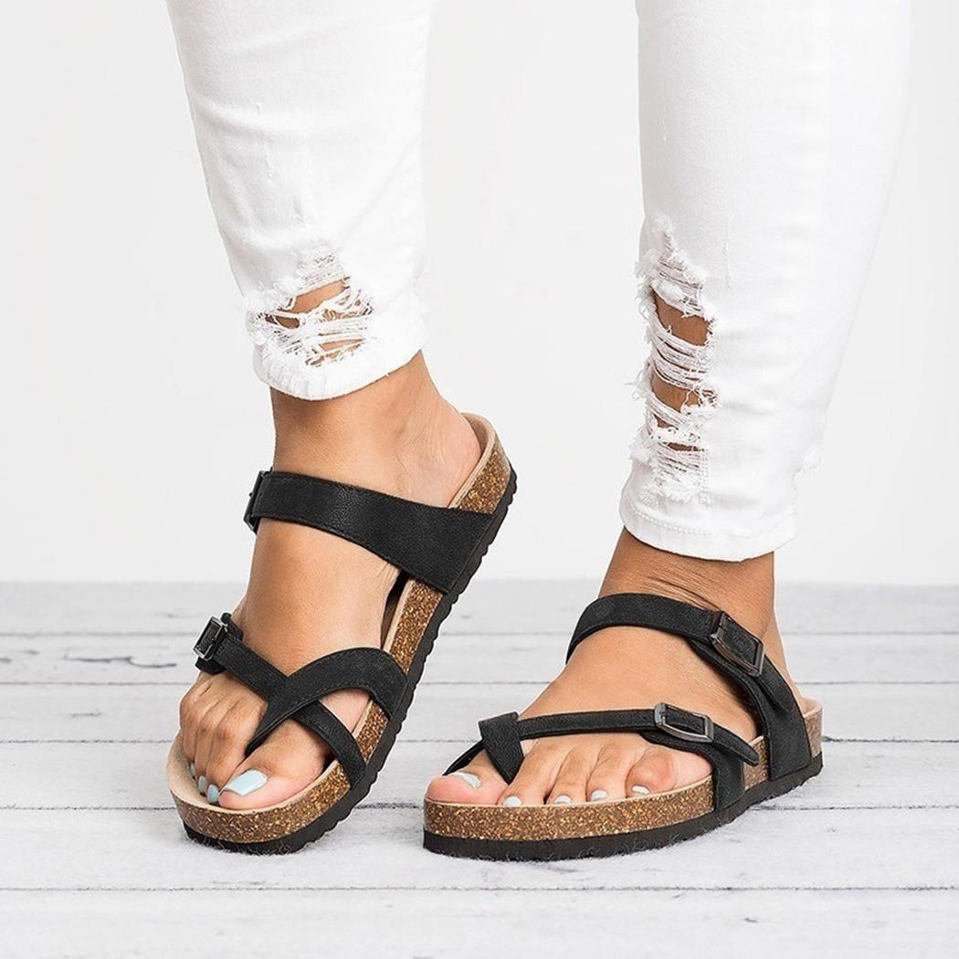 Горячая распродажа-мода Женщины Повседневная пряжка ремень плоские сандалии летние пляжные туфли новая мода пряжка ремень сандалии