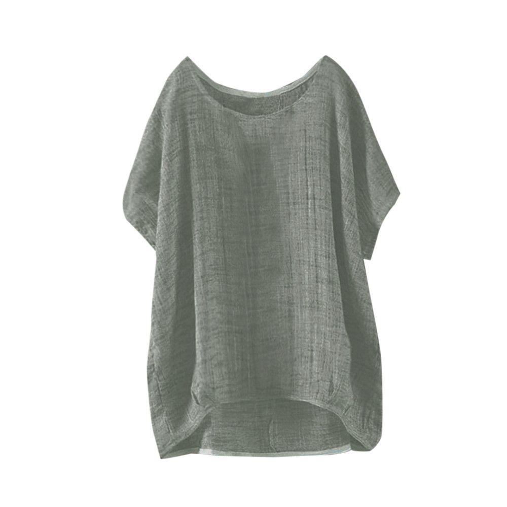 Женская лето рукава летучей мышь сплошного цвета с коротким рукавом O-образный вырез пальто Повседневного ежедневно Сыпучие Top шлиф T-Shirt