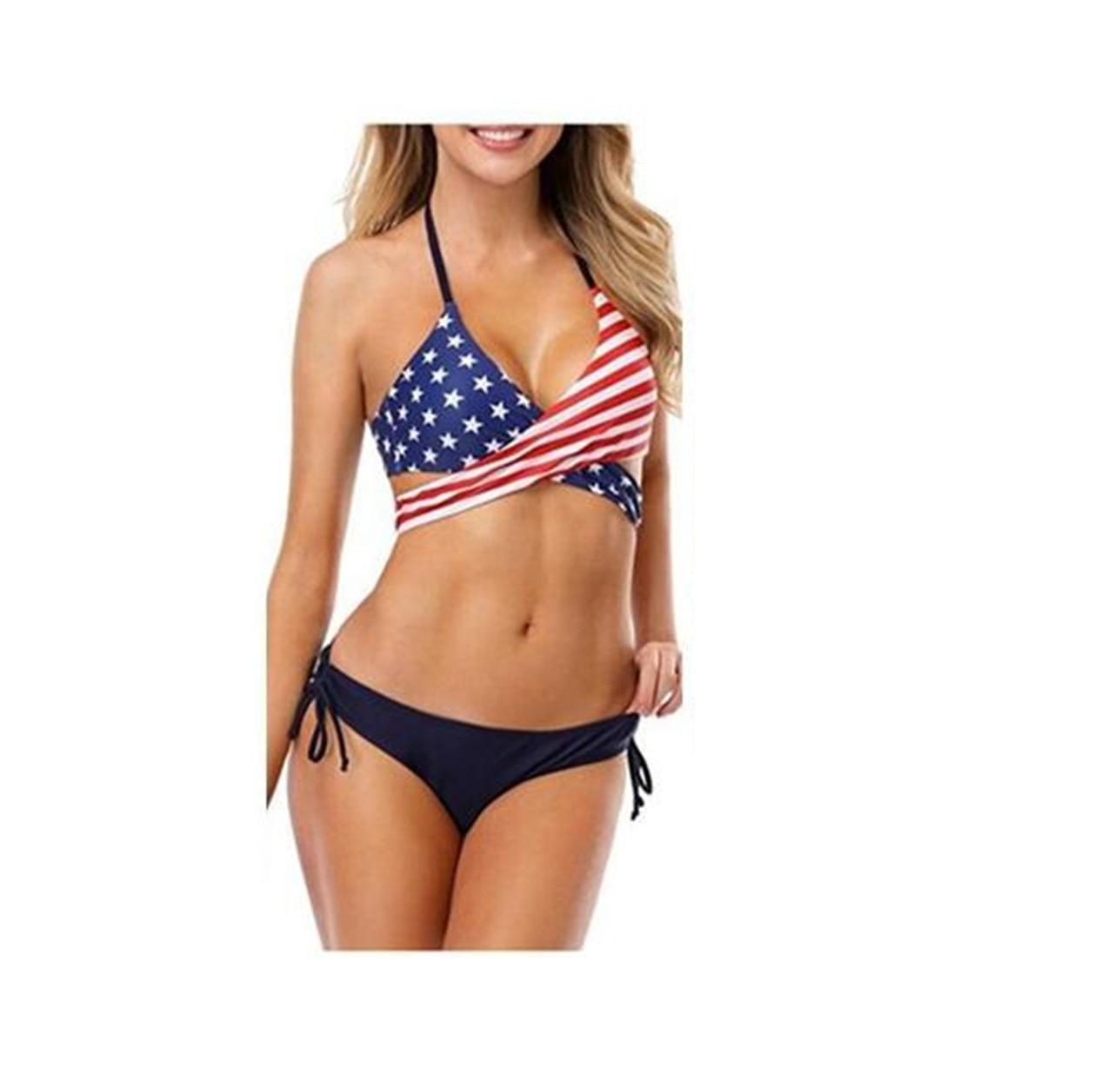 Sport Sexy Bikini Set bandiera americana stelle strisce bandiera stampa digitale un pezzo yakuda Bandiera nazionale stampata a vita alta popolare Costumi da bagno