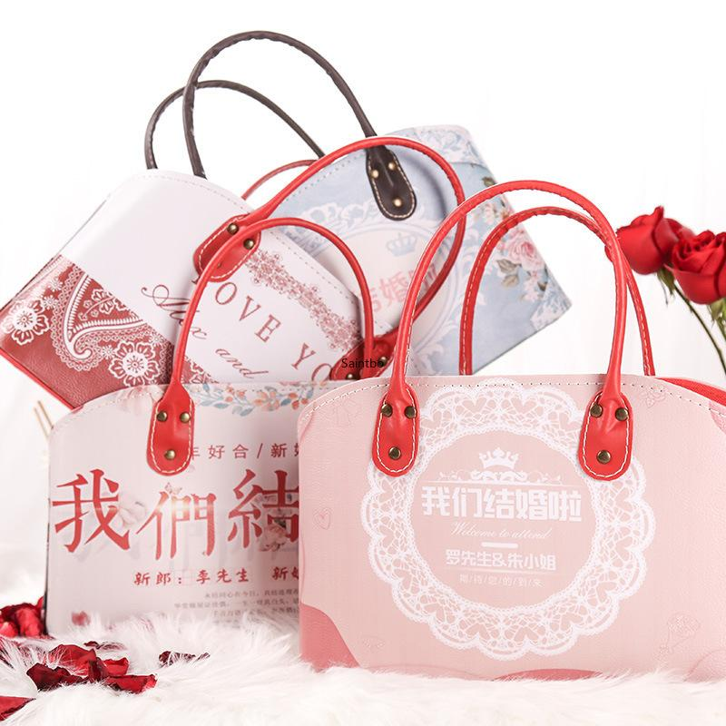 damas de honor de la boda de cuero hechos a medida regresan cesta de la mano del comercio exterior creativo regalo de vacaciones en forma de corazón que recibe la cesta