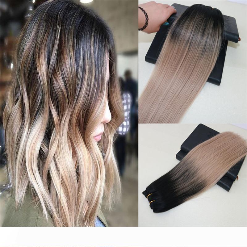 8A Grade Remy brasiliano estensioni dei capelli umani di colore # 1B Balayage dissolvenza al # 18 omber capelli tessuto diritto Virgin Lordo trama dei capelli 100g