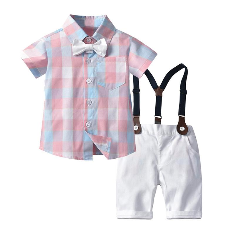 Pantalones Ropa babero de traje de niño manga corta a cuadros camisa del caballero de los niños