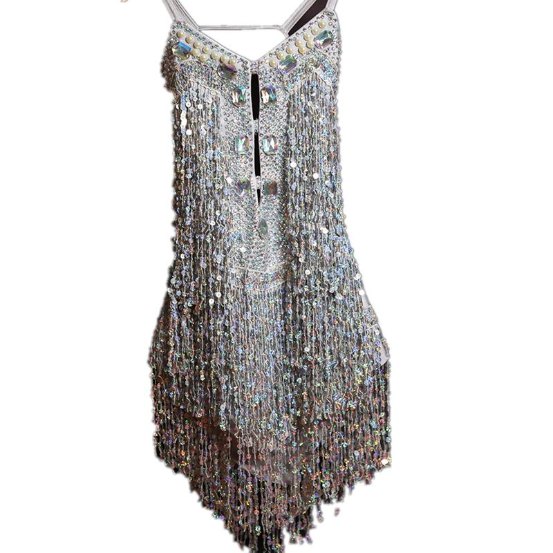 crianças salão de baile vestidos de samba tango cha cha Lantejoula traje borla diamante vestido de dança latina para salsa menina miúdos spandex franja