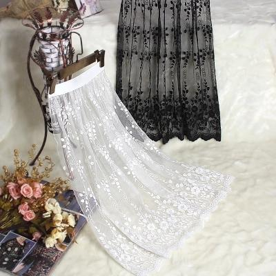Spring and autumn lace transparent half slip single layer gauze medium long underskirt female all match petticoat