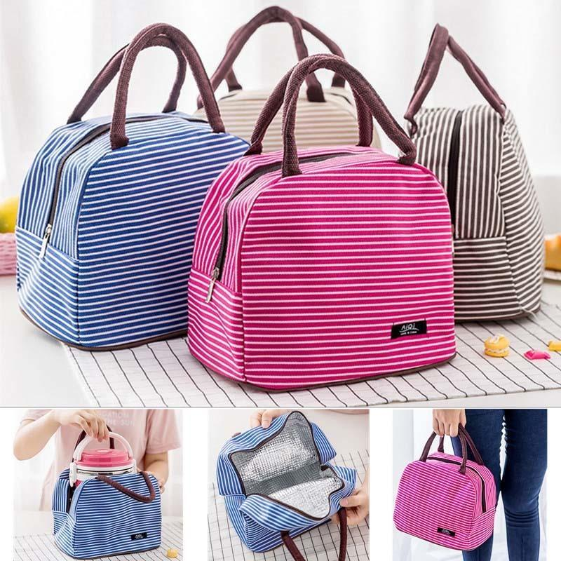 Brand Striped Food Fresh Keep Lunch Box Bag Polyester Waterproof Picnic Travel Storage Thermal Insulated Fashion Lunch Box Bags D19010902