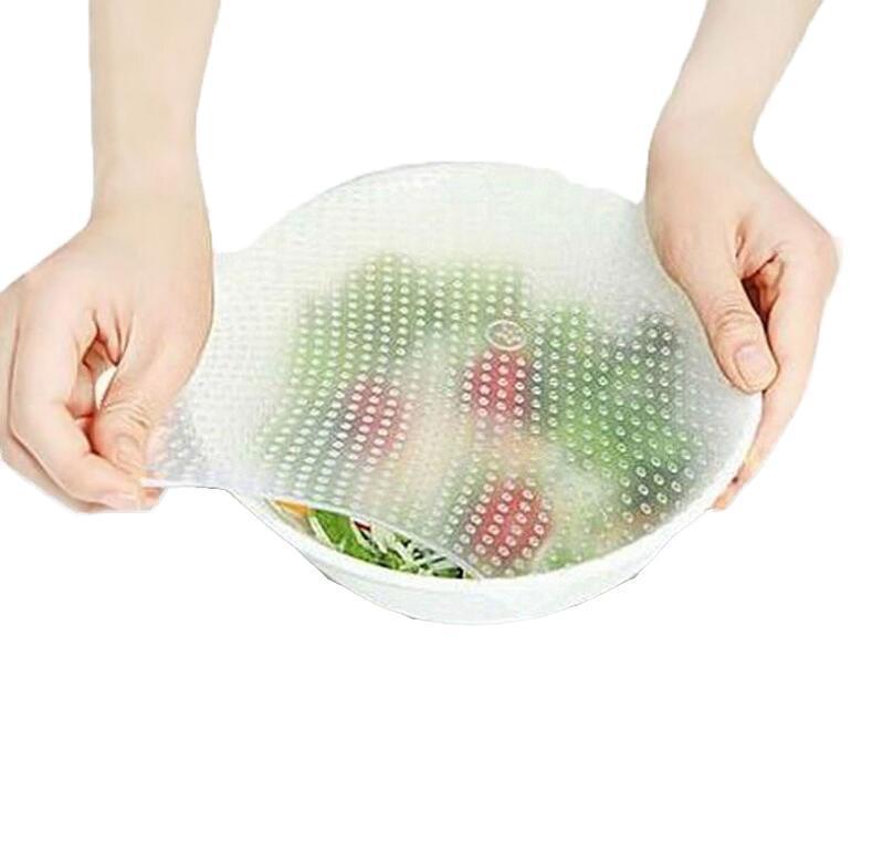 Grado de alimentos Mantener Abrigo fresco reutilizable alto estiramiento sello Wraps alimentos de silicona cubierta de vacío estiramiento Tapa herramientas de la cocina del Medio Ambiente