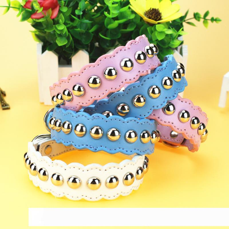 2019 Fashion Pet Collar Soft PU Leather Cute Dog Cat Use Necklace Collar Solid Color Adjustable Pets Supplier Candy Color Chihuahua
