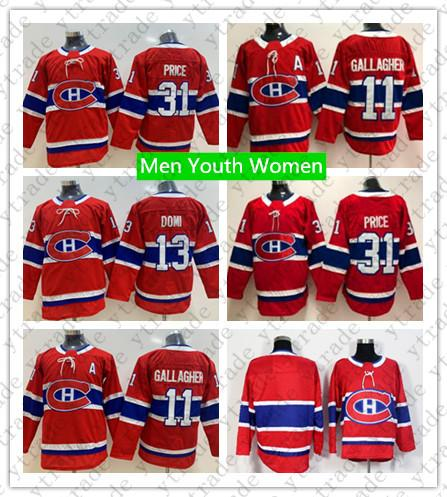 Maglia da Hockey per Bambini Montreal Canadiens Youth 13 Max Domi 31 Maglia da Uomo Carey Price Donna 11 Brendan Hockey su Ghiaccio Brendan Gallagher Blank Rosso