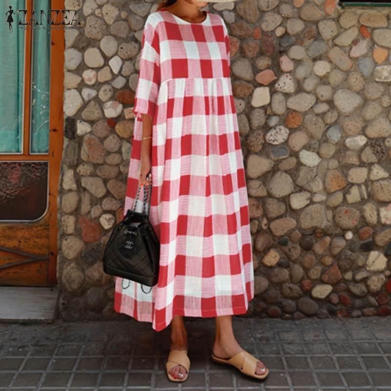 2019 가을 여성 보헤미안 드레스 캐주얼 코튼 린넨 롱 맥시 Vestidos ZANZEA 격자 무늬 롱 튜닉 셔츠 비치 파티 sundress에 확인