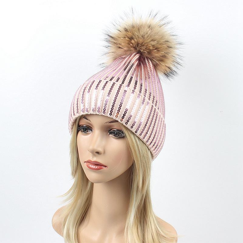 Sequins 자수 겨울 모자 여성 너구리 모피 Pom 모자 모자 여성 소녀 모직 니트 Beanies paillette 중력 폭포 모자 LJJA2816