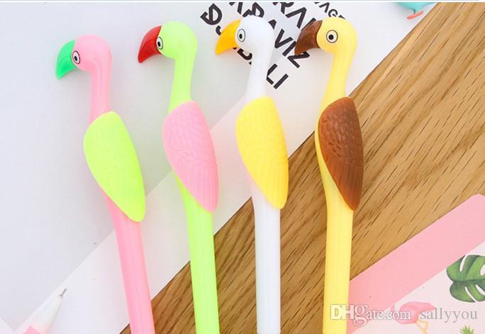 Оптовая продажа гелевых ручек бесплатная доставка Корейский творческий анимация канцелярских принадлежностей милый мультфильм ручка фламинго нейтральная ручка 22
