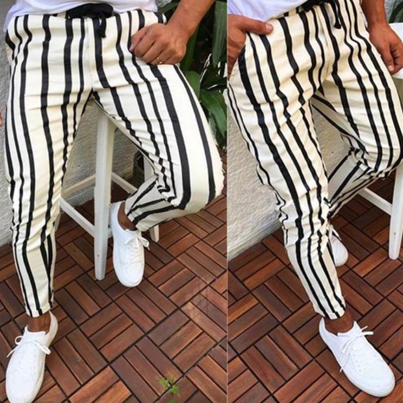 Pantalon à carreaux de mode Hommes Homme Skinny Slim Fit Fit Stripe Casual High avec poches Travailler Hip Hop Trousers