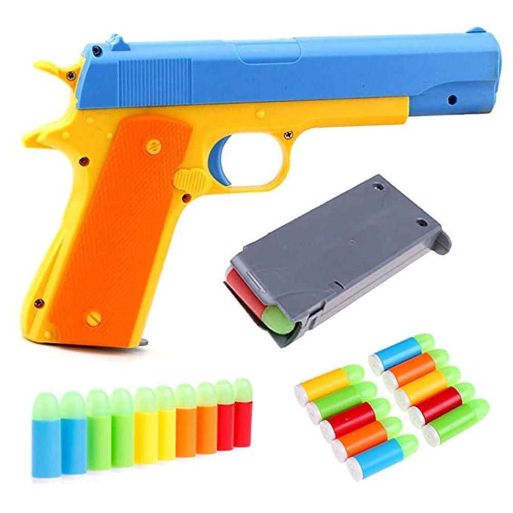 Crianças Toy Gun Colt 1911 pistola de brinquedo com 10 PCs Bullets macio colorido, ejetando Magazine e Pull Back Ação - cor aleatória