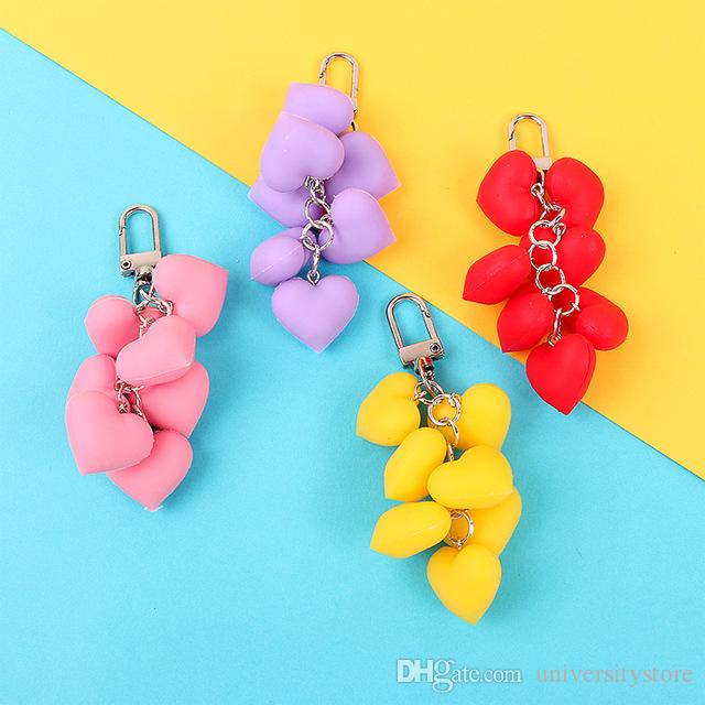 2019 Hot Fluffy Fur pompom Keychain Soft Lovely Heart Shape Pompon faux Rabbit Fur Ball Car Handbag Key Ring Gift