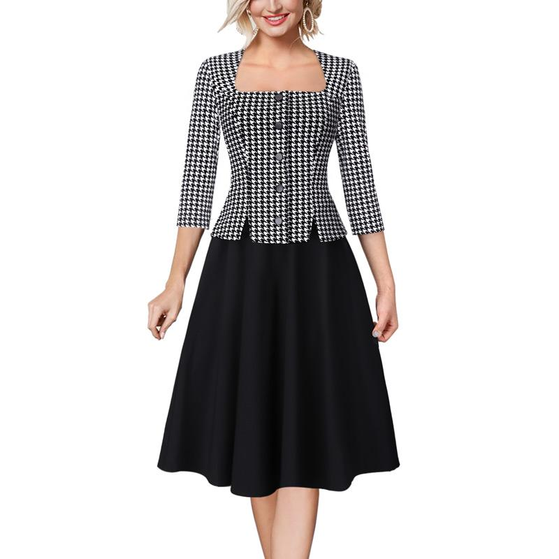 wholesale Women Vintage Retro Square Neck Buttons Print Patchwork Work Business Office Party Fit and Flare Skater A-line Dress 899