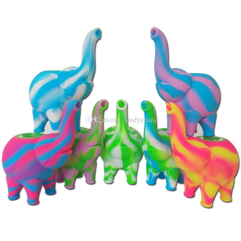 Bong Dab Rigs modèle de mini-barboteur éléphant Pipes à eau multiples Rigs de pétrole bong fumer pipe à eau en silicone bulle bongs avec bol en verre