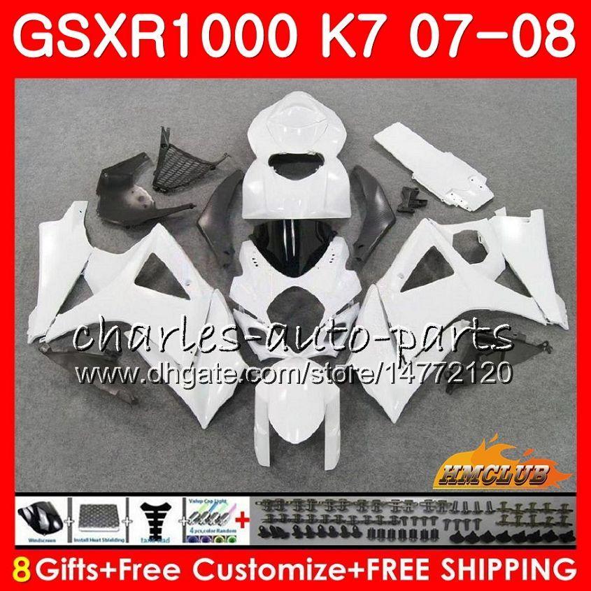 Körper für Suzuki GSXR-1000 GSX-R1000 GSXR1000 07 08 BODYWORK 12HC.21 GSX R1000 07 08 K7 GSXR 1000 2007 2008 Vollverkleidungsset glänzend weiß heiß