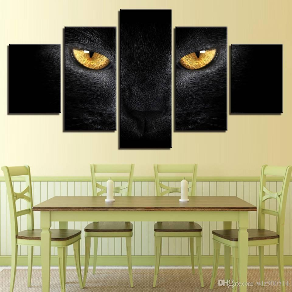 Modern Canvas Painting Wall Art Pictures 5Pcs Animal Black Cat Yellow Eyes Decor Living Room Modular HD Printed Poster(No Frame)