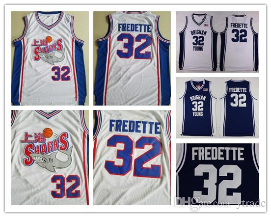 Jimmer Fredette Shanghai Sharks Jerseys Brigham Young Cougars University College Película Basketball Fredette Jersey Team Blanco cosido