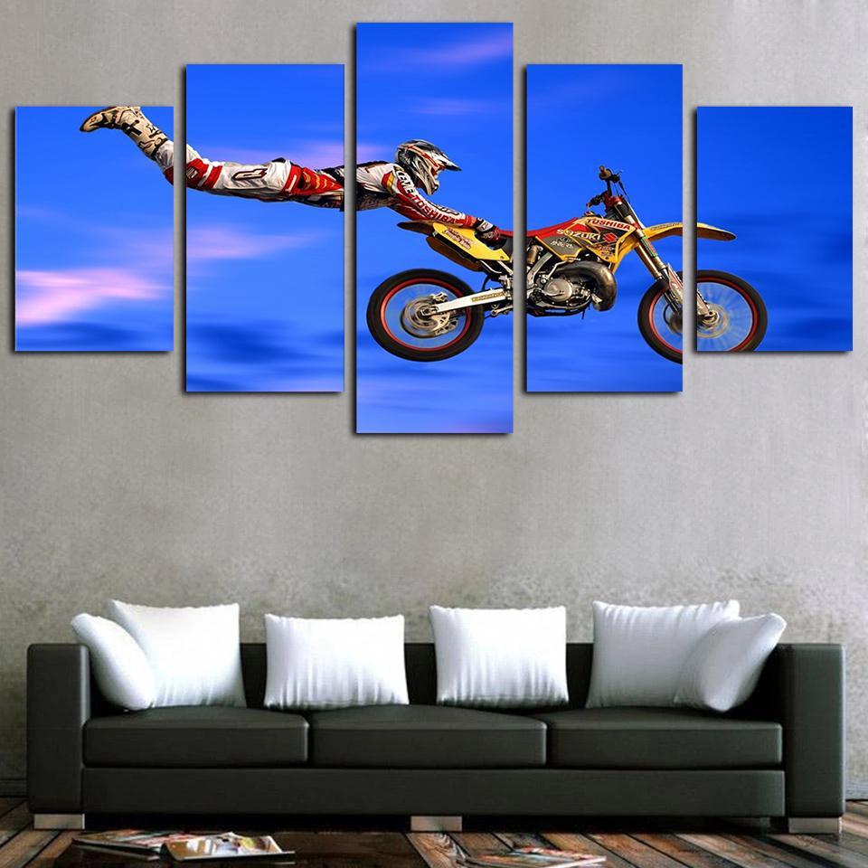5 панелей холст стены искусства мотокросс предел Прыжки картина плакат печать на холсте картина маслом современный жикле искусства стены декор