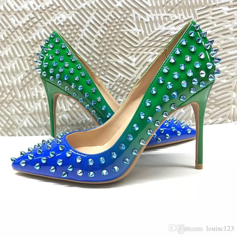 2020 Модельер красной подошвой обуви 8 см 10 см 12 см высокие каблуки градиент цвета Шипы свадебные насосы Марка Женская модельная обувь (оригинальный логотип)