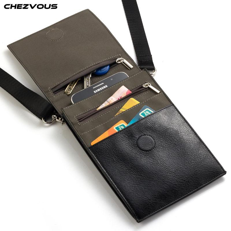 CHEZVOUS 6.4 inch Mobile Phone Pouch for iPhone Samsung Huawei Xiaomi Smartphone Men Women Small Shoulder Bag Travel Pouch