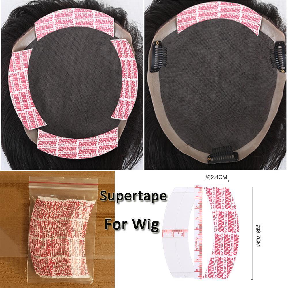 36pcs / lot de la cinta fuerte Supertape peluca de la cinta adhesiva de la extensión del pelo del lado del doble con pequeños agujeros para el cordón de la peluca / Bisoñes pegamento