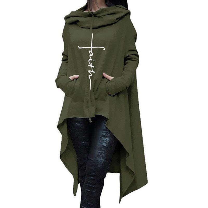 Larga de impresión de letras sudaderas con capucha para las mujeres Femmes sudaderas con capucha Tops Casual pana floja hebilla cómodo