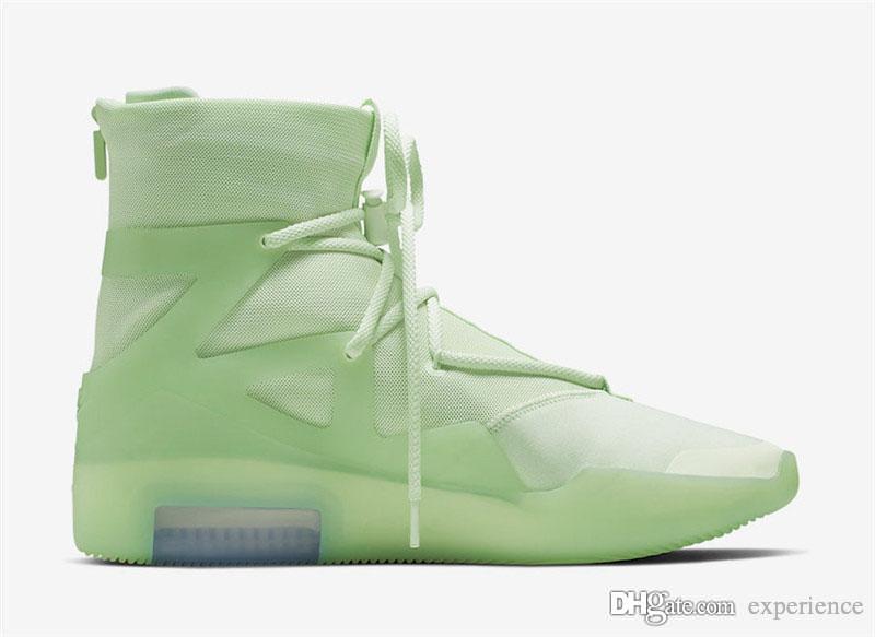 2019 En Otantik Hava tanrı Korkusu 1 Buzlu Ladin Yelken Siyah Zoom Hava AR4237-300 SIS Orijinal Kutusu Ile Erkekler Basketbol Ayakkabılar Spor Sneaker
