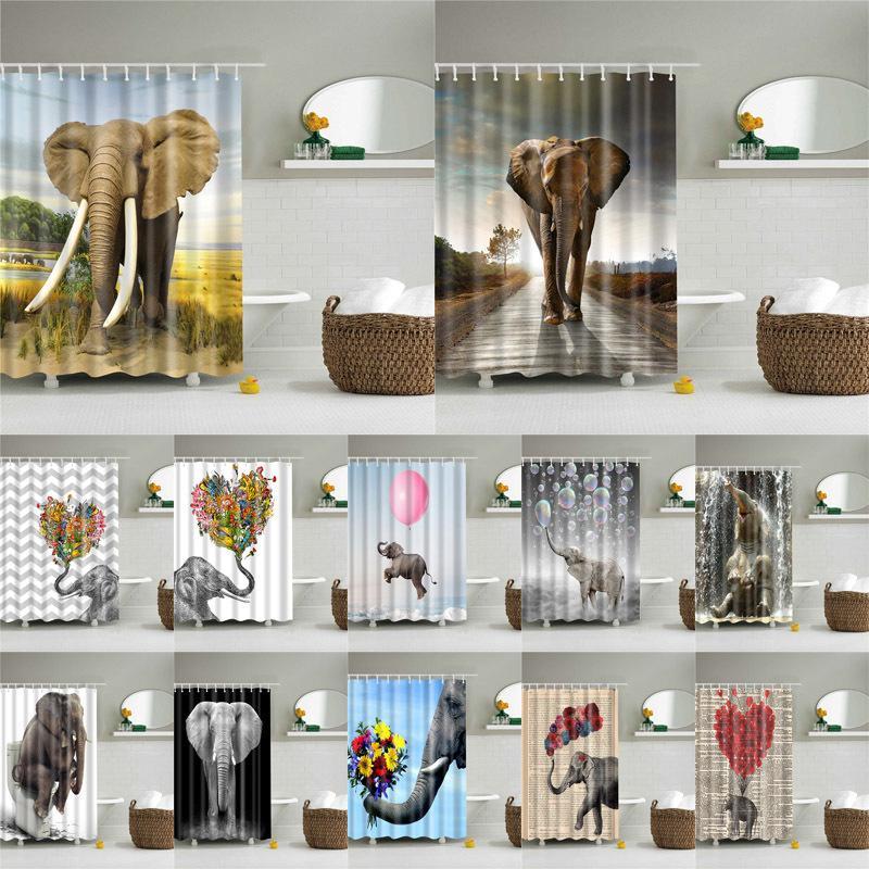 Tiere Elefant-Muster Badezimmer-Vorhang Set Nordic Polyester Badewannenabtrennungen wasserdicht Duschvorhang Y200511