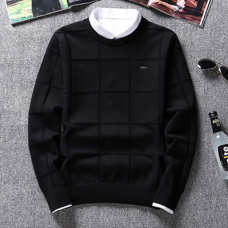 Повседневная одежда сплошной цвет свитера мужчины о шею пуловер мужчины с длинным рукавом мужской свитер мужской бренд кашемир чек трикотаж человек тянуть