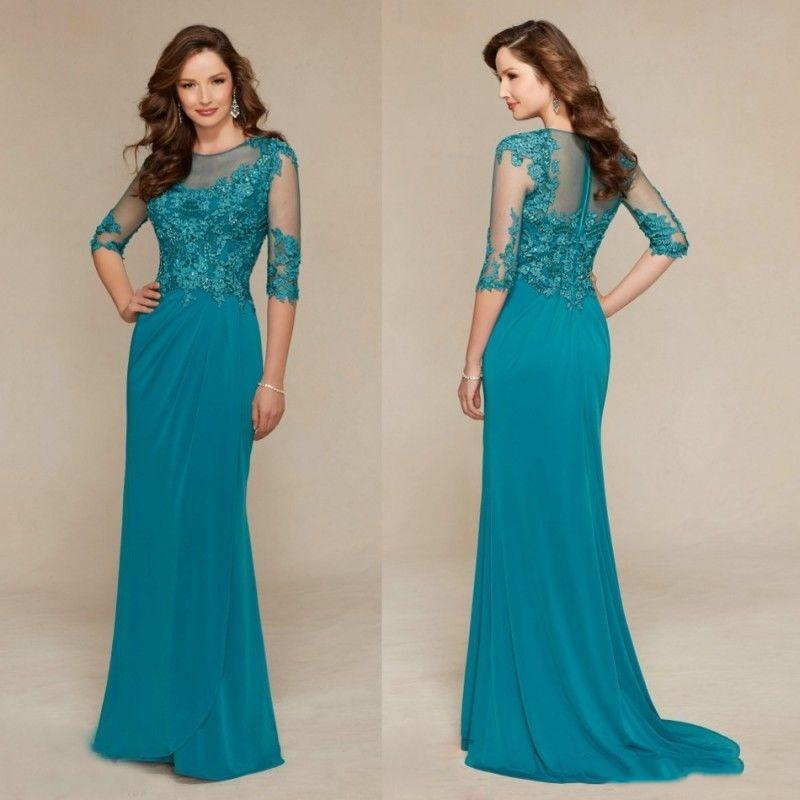 Sheer robes mères cou à manches Illusion Chambres élégantes gaine robes de mariée 2020 Mère de robe de mariée
