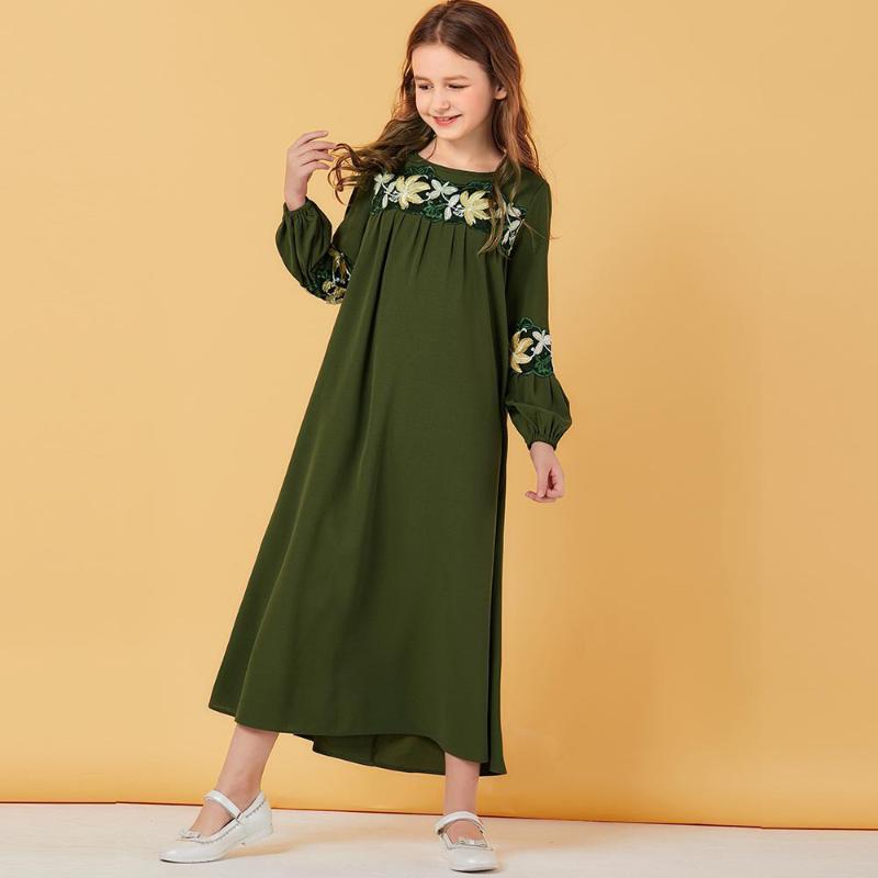 Suar vestido meninas muçulmanas Puff luva floral marroquino vestidos das crianças das crianças kimono vestuário islâmico Dubai A-line Vestido Kaftan