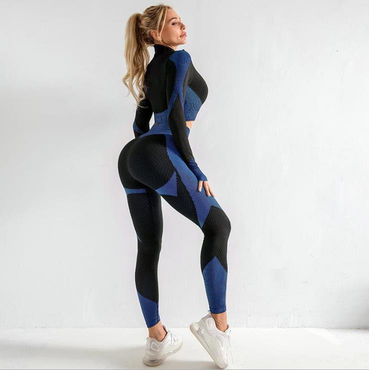 2020 nuevas mujeres ropa deportiva Yoga Set Fitness gimnasio ropa correr tenis camisa + pantalones Yoga Leggings Jogging entrenamiento deporte traje 20042002W